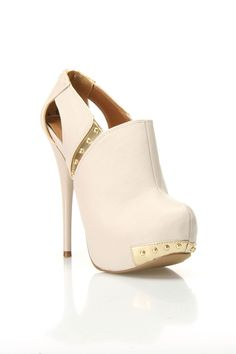Ivory and Gold Studded Ankle Bootie