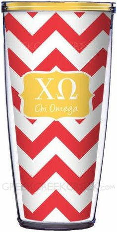 Chi Omega Super Tumbler on Red Chevron