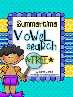 FREE Summer Vowel Search -- fun with a magnifying glass!