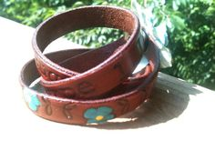 Leather Diabetic Wrap Bracelet  'sweet enough' by GratifyDesign, $25.00