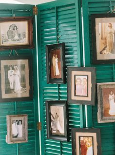 family photos displayed on painted shutters | Amy Arrington #wedding