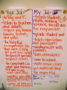 I LOVE this! First Day of School activity - Students' Job & Teacher's Job