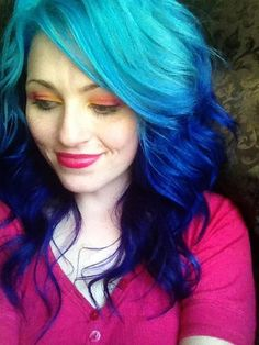 blue ombre hair, but don't like the make up