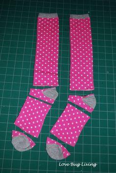 make baby leggings out of old socks ~ diy tutorial ~ Love Bug Living: Baby Leggings