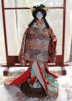Japanese '50s Gofun Glass Eyes Beautiful Looks Oiran Doll 15 Inch | eBay