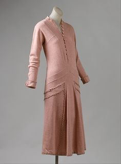 """Pink wool day dress by Gabrielle """"Coco"""" Chanel, French, ca. 1924."""