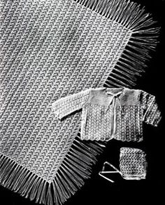 Baby Shawl Set knit pattern from Jack Frost Baby Book, originally published by Jack Frost Yarn Company, Volume 61, in 1958.