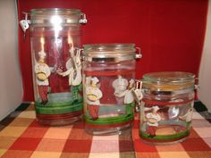 GLASS FRENCH CHEF ITALIAN CHEF LOCKING KITCHEN CANISTERS OVAL 3 PC | eBay