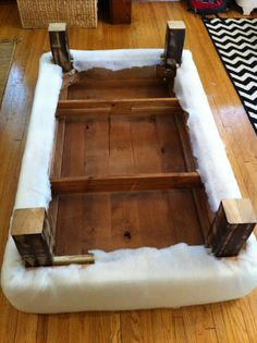How to turn a coffee table into an ottoman ~ Inside Out Design