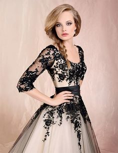 Black lace and white wedding dress