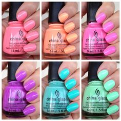 spring nails, spring colors, nail colors, china glaze sunsational, summer nails