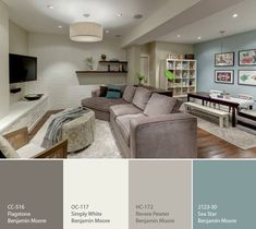 Benjamin Moore Revere Pewter. Colors for office with Blue Accent wall.