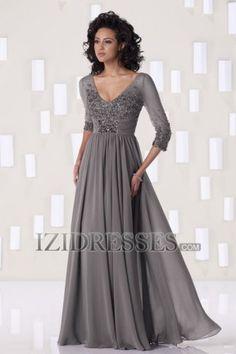 Sheath/Column V-neck Chiffon Mother of the Bride - IZIDRESSES.COM