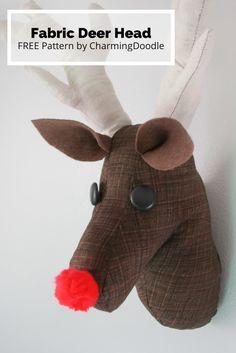 child room, pattern, christmas holidays, diy tutorial, charm doodlesew, hobbi, diy gifts, deer heads, fabric deer