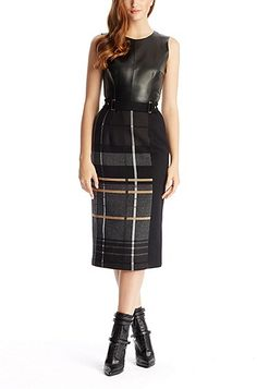 'FS_LE865' | Leather and Virgin Wool Blend Textured Plaid Dress, Black