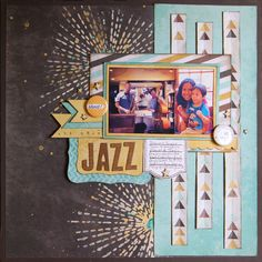 All that Jazz - Scrapbook.com - Cut strips of patterned paper and machine stitch down the middle for a fun element on a layout.