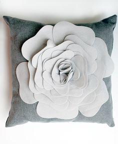 Grey Oversized Flower Throw Pillow