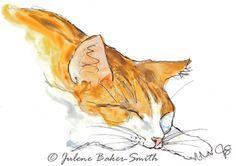 Kitty Sleeping 3 Fine Art Print by ArtByJulene on Etsy, $15.00