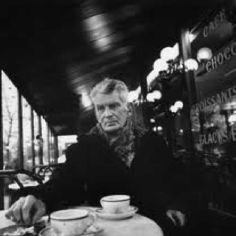 Beckett with a coffee