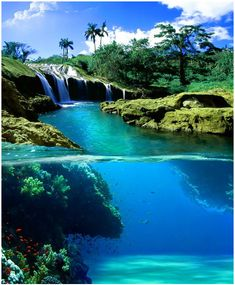Split-view of a waterfall, Hawaii