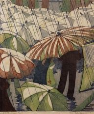 Wet Afternoon by Ethel Spowers. This linocut was printed either in 1929 or 1930