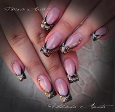 Pinned by www.SimpleNailArtTips.com ONE STROKE NAIL ART DESIGN IDEAS - gold flowers over black french manicure