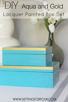 Stylish Storage! Make this Easy DIY Aqua and Gold Wood Box Set!