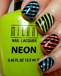 Bright striped nails!!! See more cute nails on bellashoot.com