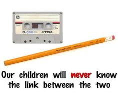Cassette tape and pencil