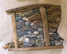 wall art, visual arts, river rocks, stick, driftwood art, natural materials, rock art, stone art, stone sculpture