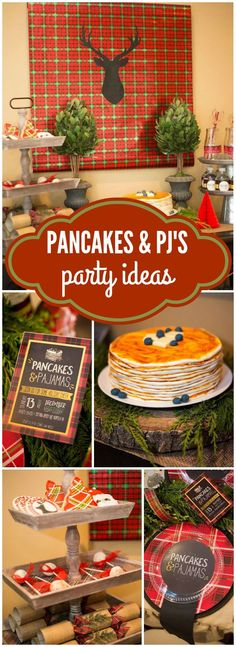 "Check out this rustic pancakes and pajamas party in plaid and burlap! See more party ideas at <a href=""http://CatchMyParty.com"" rel=""nofollow"" target=""_blank"">CatchMyParty.com</a>!"