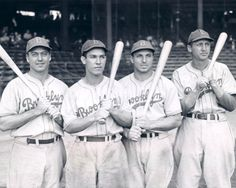 Legendary 1941 Brooklyn Dodgers Four Big Hitters.  Pictured left to right:  Billy Herman, Pete Reiser, Dolph Camilli and Dixie Walker were the big hitters for the Brooklyn Dodgers in their NL pennant-winning season of 1941.