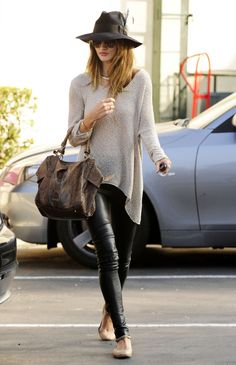 leather leggings and flats- awesome