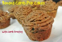 Does your #dog enjoy sweet treats Then they are going to love these Banana Carob Pupcakes mini muffins! Treat your dog to a pawty with these tasty, dog-friendly #cupcakes!