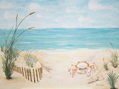 gorgeous beach themed canvas for nursery