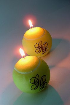 Lighted tennis ball candles