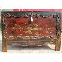 "Antique Chinese 50"" Painted Black & Red Mongolian Coffer Storage Cabinet"