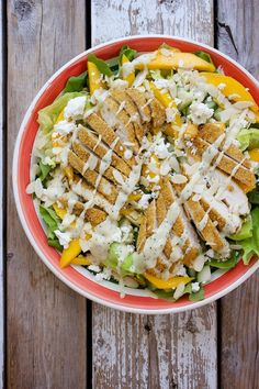 Crispy Chicken Mango Salad with Goat Cheese and Honey-Mustard Poppy Seed Dressing by kitchensimplicity #Salad #Chicken #Mango #Goat_Cheese #Healthy