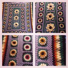 #crochet flower squares blanket by e.mireles from 50+ Inspiring Crochet Images