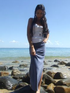 Indigo Long Skirt Streamline Organic Cotton Lycra by GlobalVibe, $69.00