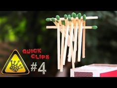 "15 matchsticks are balanced on top of 1 single match.  Then lit on fire.    ""Quick Clips"" are clips of random experiments in a minute or less.    For other project videos, check out http://www.thekingofrandom.com"