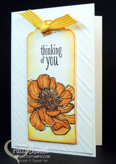 Bookmark Card with the Scalloped Tag Topper Punch and Bloom with Hope hostess set from Stampin' Up!.  Flower colored with Blendabilities markers. Stylish Stripes embossing folder background white on white. by Patty Bennett #stampinup #card #blendabilities