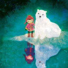 #Polarbear #Eskimo #Teals reflect art, moonywolf, khoa le, polar bears, color, white bear, white polar, polarbear eskimo, illustr