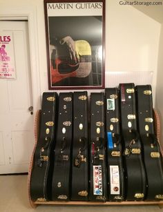 No more scuffing the walls of your music room, thanks to the Studio™ Deluxe #guitar case rack, available at http://guitarstorage.com/guitar-case-storage-racks
