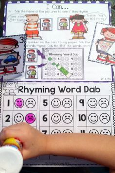 Fun way to teach rhyming words! Dab the :) if the two pictures rhyme. Dab the :( if the two pictures don't rhyme.