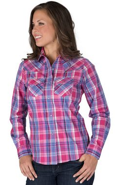 Cowgirl Legend® Women's Pink & Blue Plaid with Purple Lurex Long Sleeve Western Shirt