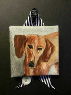 "Dog portrait, from favorite photo, hand sketched and hand painted on 2"" x 2"" square or 4"" x 4"" square canvas stretched over wood frame."