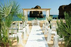 White Beach Wedding ceremony Algarve Portugal by Algarve Wedding Planners