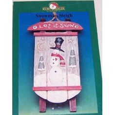 Weathered Rustic Let It Snow Snowman and Sled Plaque Winter Christmas Decor (Kitchen)