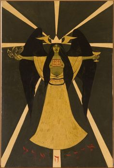 Cameron, Holy Guardian Angel according to Aleister Crowley, 1966. Casein and gold lacquer on board, 29 1⁄2 x 19 1⁄2 inches. Courtesy of the Cameron Parsons Foundation, Santa Monica. Photo Credit: Alan Shaffer
